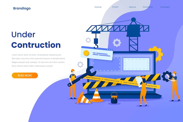 Under construction landing page illustration template. Premium Vector