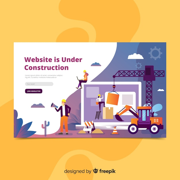 Under construction landing page template Free Vector