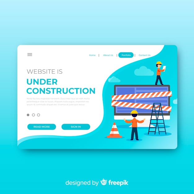under construction landing page template vector