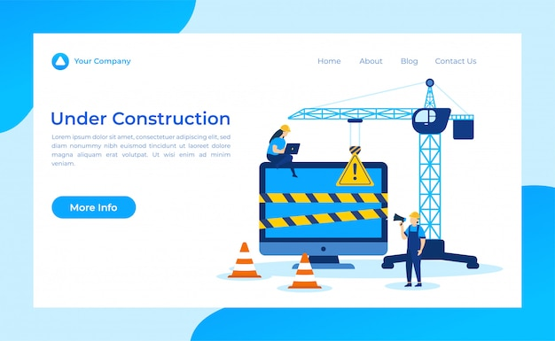 Under construction landing page Premium Vector