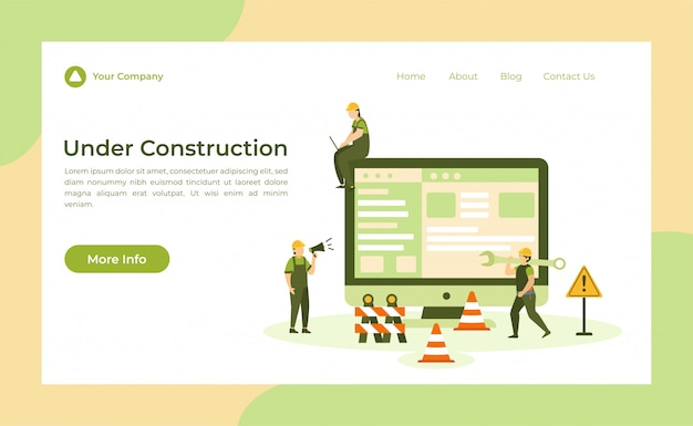 Under construction landing page Premium Vector