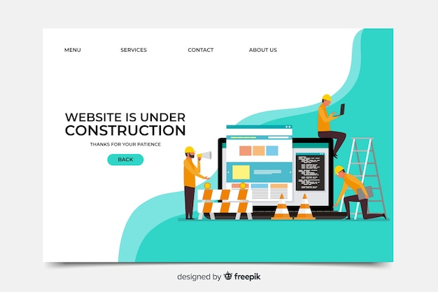 Under construction landing page Free Vector