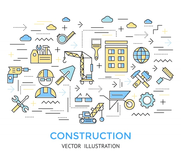 Construction line work background Free Vector