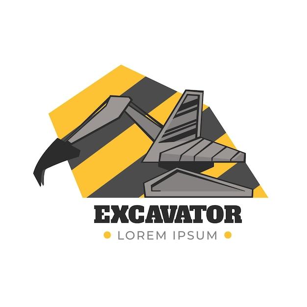Modello di escavatore logo di costruzione Vettore gratuito