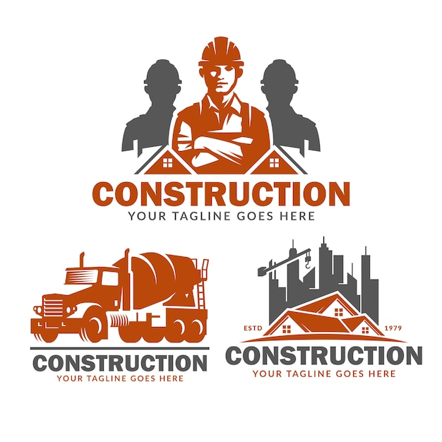 Construction logo template set, vector pack of construction logo Premium Vector