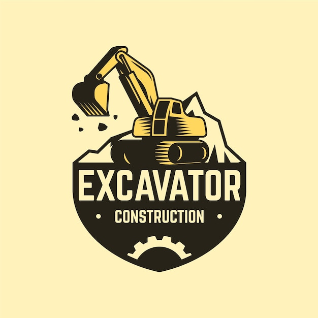 Construction logo template with excavator Premium Vector