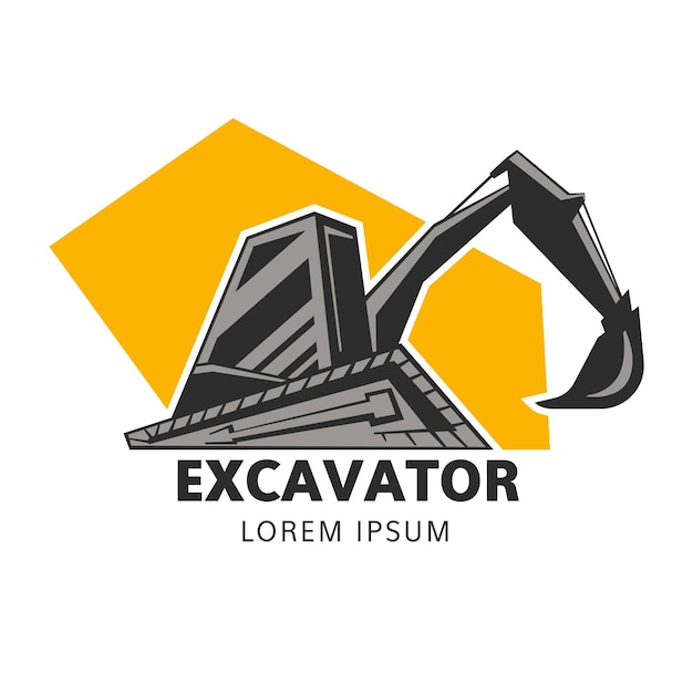 Construction logo template with excavator Free Vector