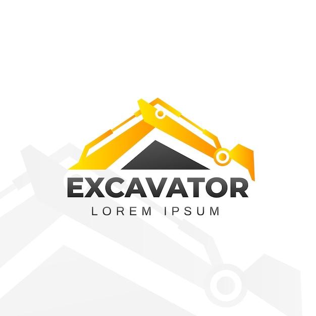 Construction logo with excavator Premium Vector