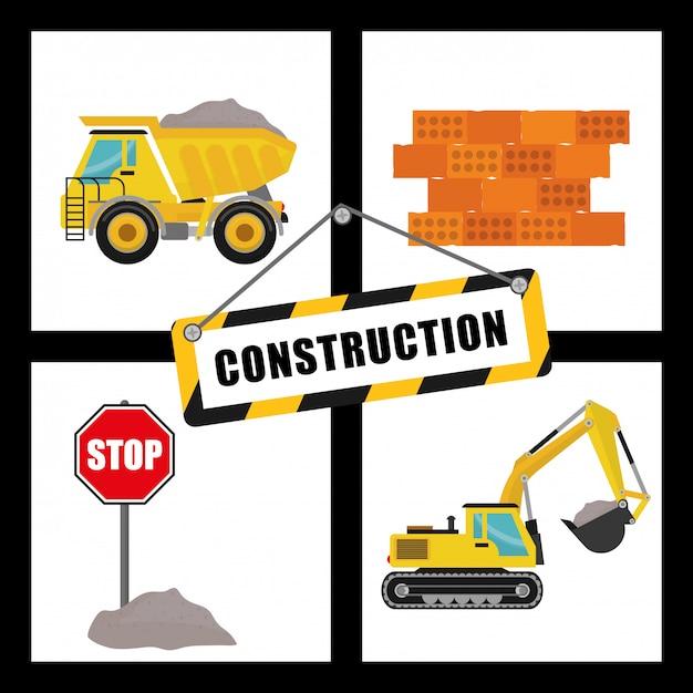 Construction machinary design. Premium Vector