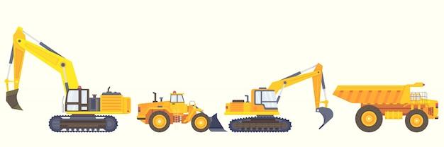 Stile di raccolta di macchine edili Vettore gratuito