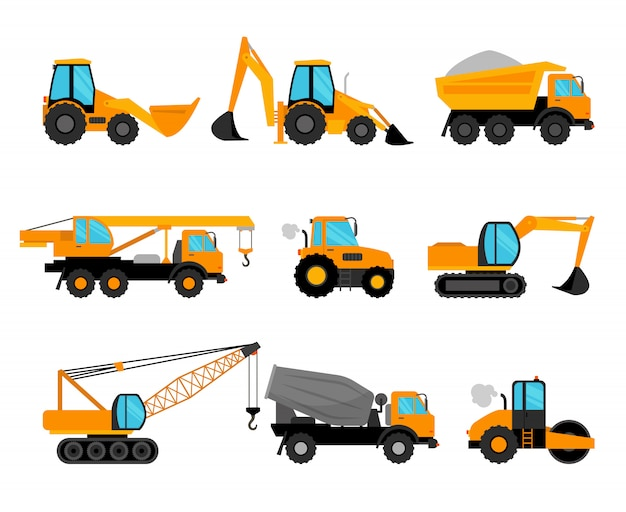 Construction machinery and building construction equipment icons Premium Vector