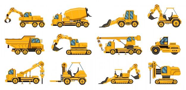 建設機械。重い道路機器トラック、フォークリフト、トラクター、掘削クレーントラックイラストセット。機器輸送工事、産業用クレーン Premiumベクター