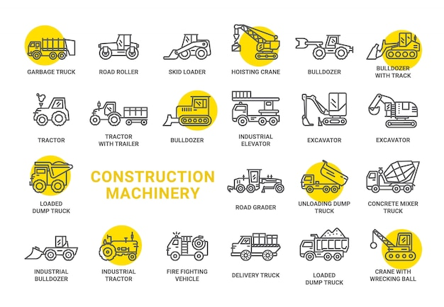 Construction machinery icon collection Premium Vector