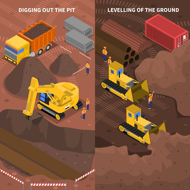 Construction machinery isometric vertical banners set Free Vector