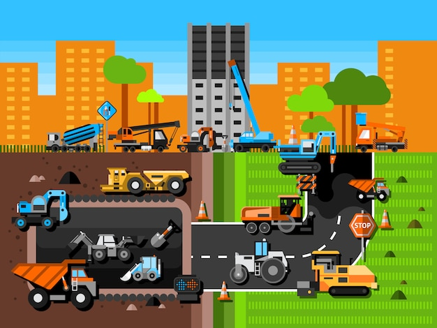 Construction machines composition Free Vector