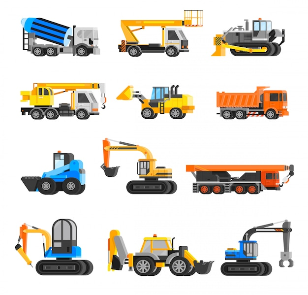 Construction machines icons set Free Vector
