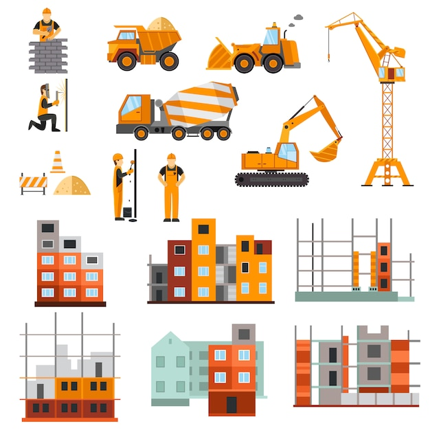 Construction machines set Free Vector