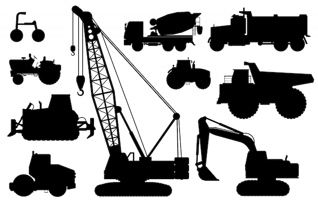 建設機械のシルエット。建設作業用の重機。孤立したクレーン、掘り、トラクター、ダンプトラック、コンクリートミキサー車フラットアイコンセット。産業建設輸送側面図 Premiumベクター