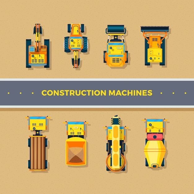 Construction machines top view Free Vector