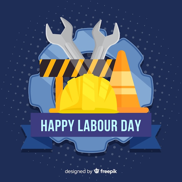 Construction material labor day background Free Vector