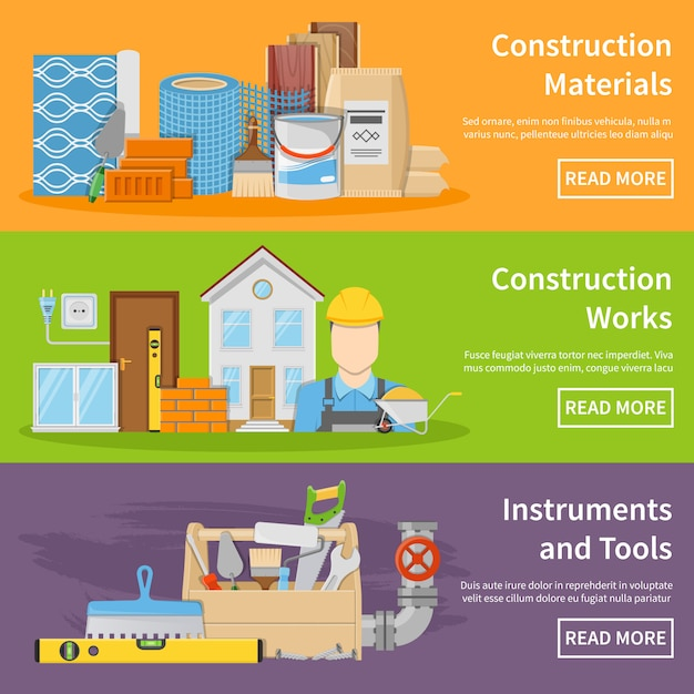 Construction materials banners Free Vector