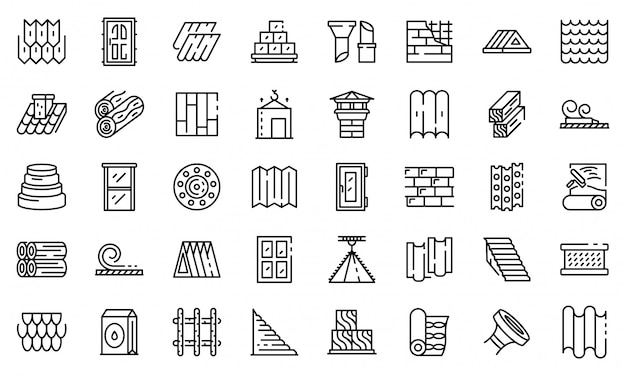 Construction materials icons set, outline style Premium Vector