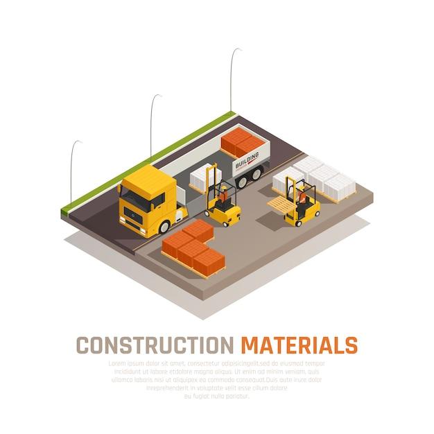 Строительные материалы изометрической композиции с строительной площадки и грузовик выгружается работниками с редактируемым текстом векторные иллюстрации Бесплатные векторы