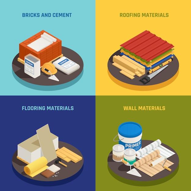 Концепция дизайна строительных материалов изометрии с редактируемым текстом и изображениями строительных материалов и оборудования векторные иллюстрации Бесплатные векторы