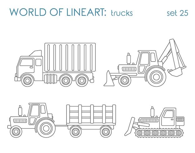 Trasporto comunale di costruzione al set lineart. livellatrice del trattore dell'escavatore del ribaltatore. collezione d'arte di linea. Vettore gratuito
