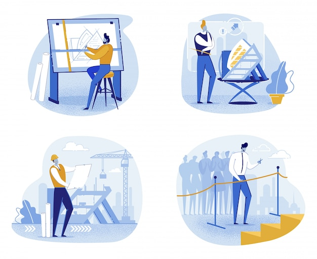 Construction of new building, different stages Premium Vector