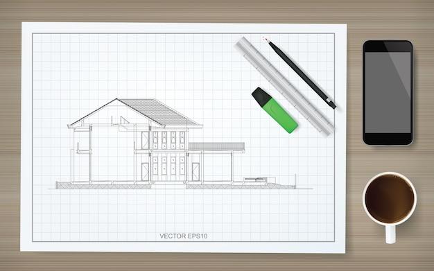 와이어 프레임 집의 이미지와 청사진의 건설 용지 배경 프리미엄 벡터