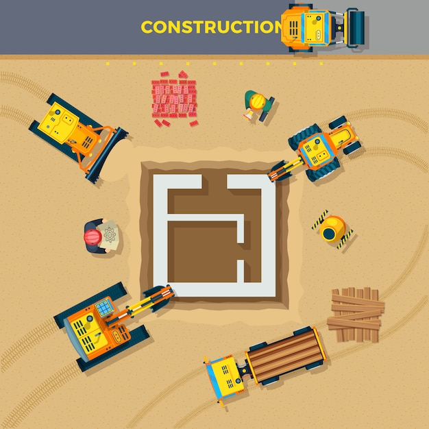 Construction process top view illustration Free Vector