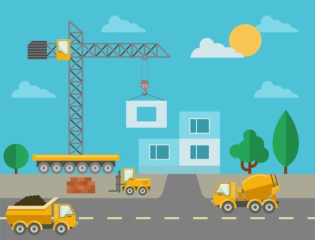 Строительный процесс со строительной техникой и возведенным зданием. строительная площадка и бетономешалка, башенный кран и грузовик. векторная иллюстрация Бесплатные векторы