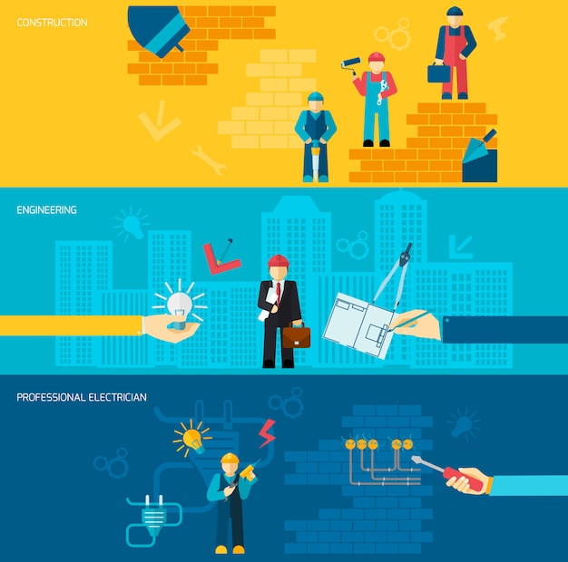 Construction professions banners Free Vector