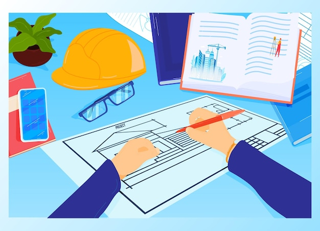 Construction project workplace at architect table  illustration. Premium Vector