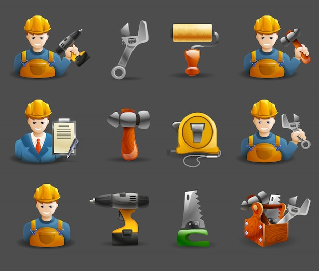 Construction remodeling work isometric icons set Free Vector