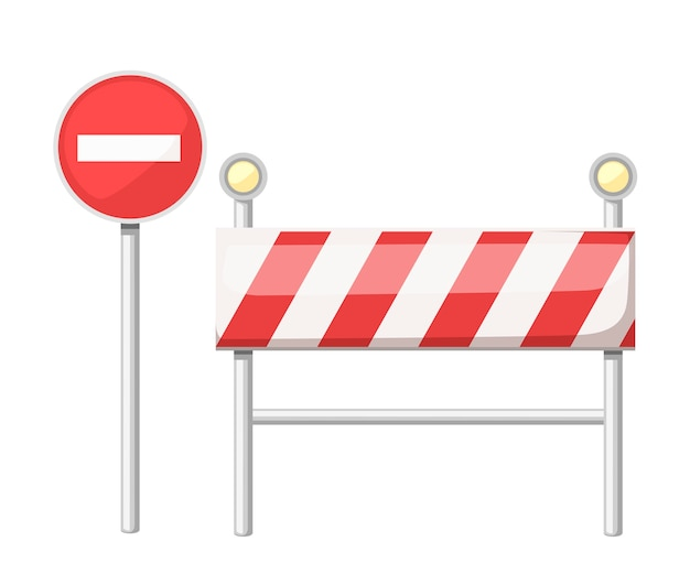 Under construction road sign. red road sign with light bulb. Premium Vector