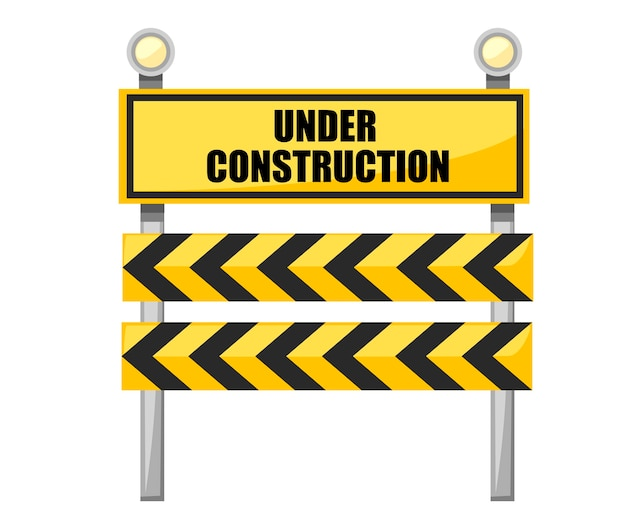 Under construction road sign. yellow road sign with light bulb. Premium Vector