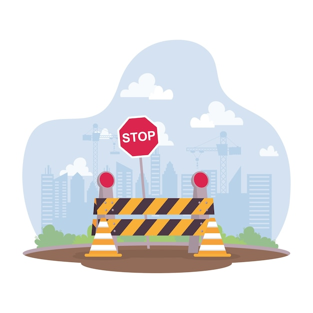 Construction scene with barricade and stop signal vector illustration design Premium Vector