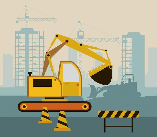 Under construction scene with excavator Premium Vector