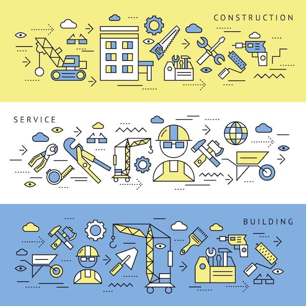 Set di banner di servizio di costruzione Vettore gratuito