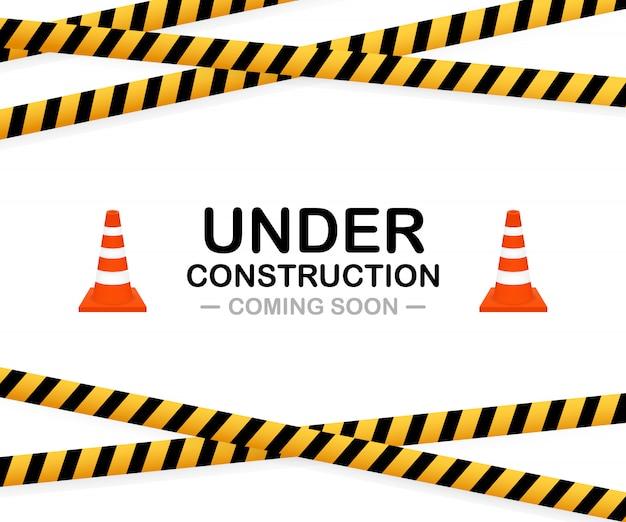 Under construction sign. illustration for website. Premium Vector