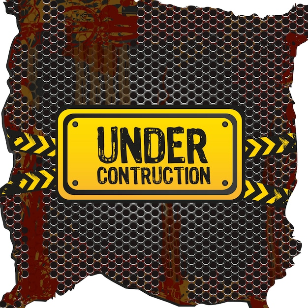 Under construction signal  on rusty metal with grid pattern Premium Vector