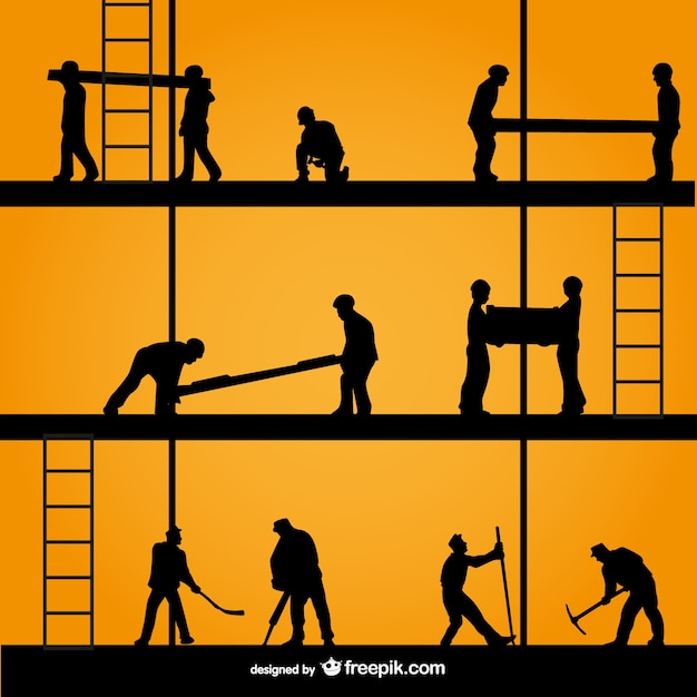 Construction silhouettes Free Vector