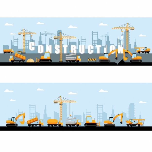 Construction site banner Premium Vector