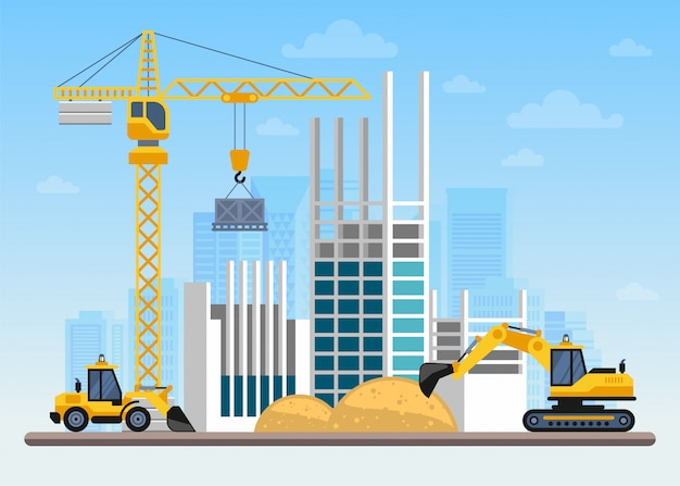 Construction site building a house with cranes and machines Premium Vector