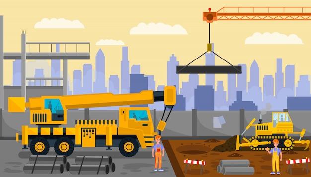 Construction site, building process illustration Premium Vector