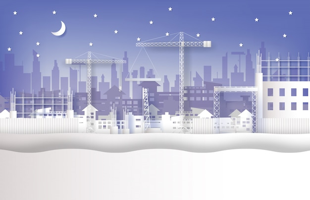 Under construction site and cranes in the city Premium Vector