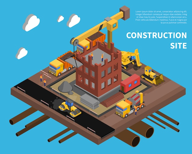 Construction site illustration Free Vector