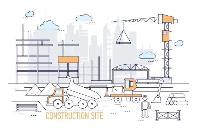 Строительная площадка или территория с построенным зданием Premium векторы